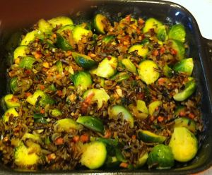 Karl's Brussels Sprouts with Wild Rice and Pancetta