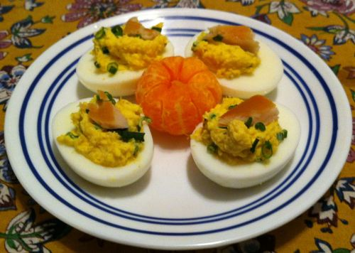 Karl's Smoked Trout Deviled Eggs