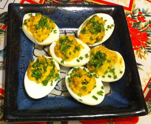 Karl's Curried Deviled Eggs with Chives