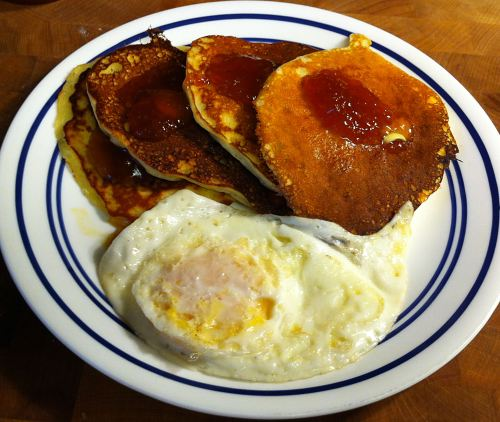 Karl's Orange Infused Sugar with butter, orange marmalade, and a fried egg