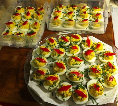 Karl's Curried Deviled Eggs with Chives for a Crowd