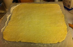 Kneaded dough, rolled to 14 inch square