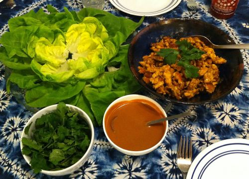 Karl's Chicken Satay Lettuce Wraps with Peanut Sauce