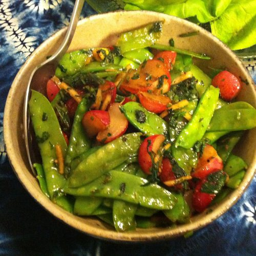 Karl's Sautéed Snow Peas with Red Radishes