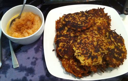 Karl's Tarragon Potato Latkes with Irish Whiskey Pear Sauce