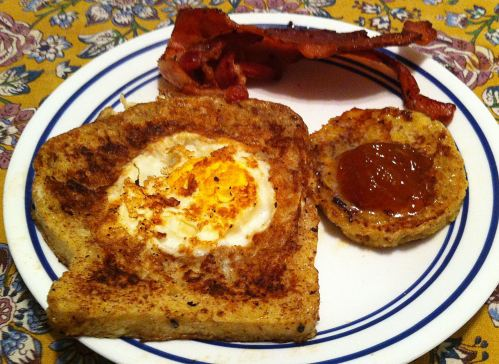 Karl's One-eyed Jacques (French Toast Punch-Out Eggs)