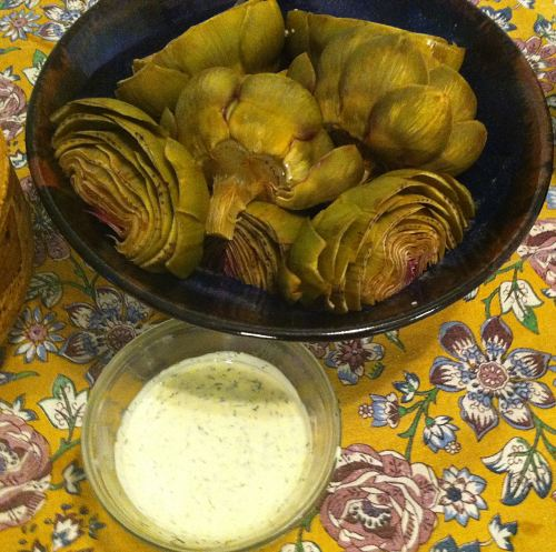 Karl's Steamed Artichokes with Lime Dill Sauce