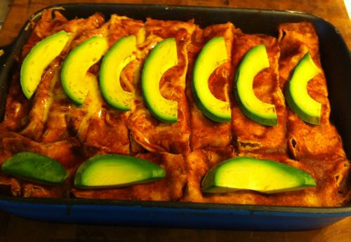 Karl's Carnitas Enchiladas with Avocado