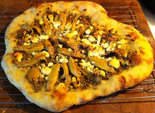 Karl's New York Style Za'atar Pizza with Roasted Artichokes and Feta