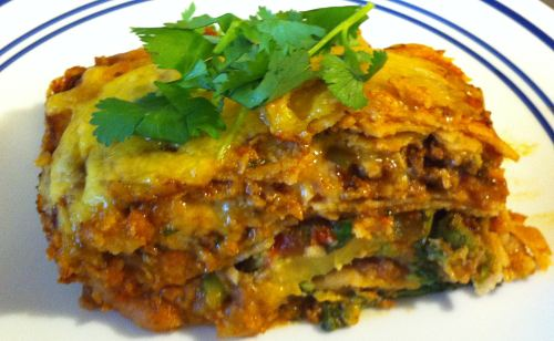 Karl's Mexican Lasagna (Ground Beef Enchilada Casserole)