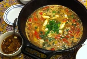 Karl's French Provincial Bourride Fish Stew with garlic onions on the side