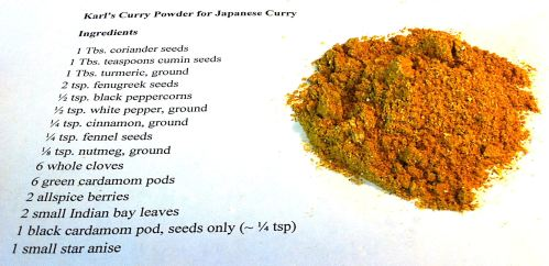 Karl's Curry Powder for Japanese Curry