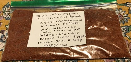 Karl's International Six Chile Chili Powder for Burning Man