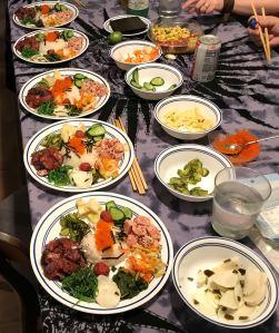 Karl's Poké Chirashi Sushi Assembling the Plates