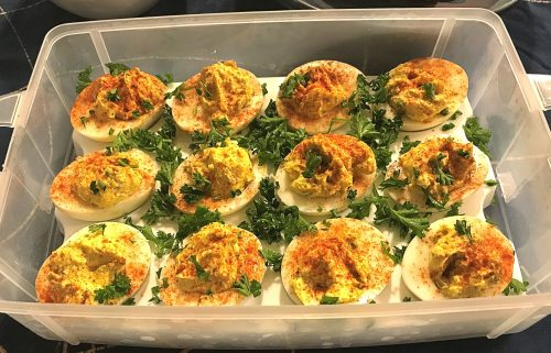 Karl's Curried Deviled Eggs with Capers