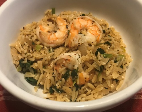 Karl's Lemon Orzo Florentine with Pan Seared Garlic Shrimp