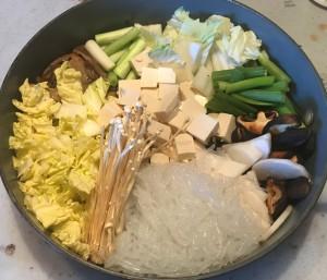 Karl's Noom Friendly Vegan Sukiyaki arrangement of the ingredients