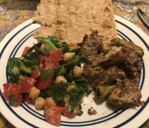 Za'atar Chicken, Chickpea Salad and Sangak